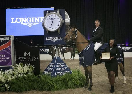 Christian Heineking riding AjeCluny and Adrienne Fleming,Longines
