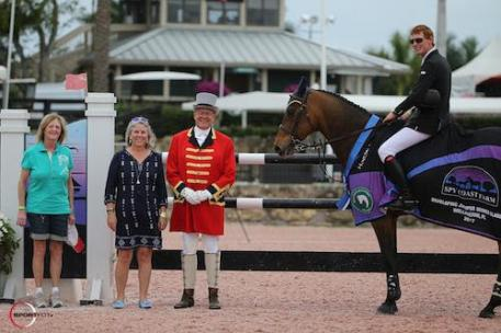 Daniel Coyle and Farona in their winning presentation with owner Susan  Grange, Lisa Lourie of Spy Coast Farm, and ringmaster Steve Rector.