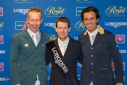 The top three riders (from left to right) Dermott Lennon, Mclain Ward and Roberto Teran, at the press conference for the 32,000 Longines FEI World Cup™ Jumping Toronto on Wenesday, November 11.