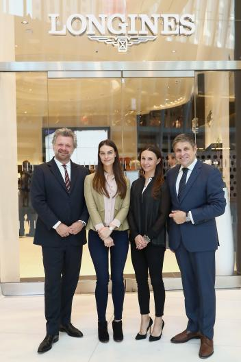EEM Founder & CEO Christophe Ameeuw, Ariana Rockefeller, Georgina Bloomberg and Vice President of Longines Mr. Juan-Carlos Capelli.