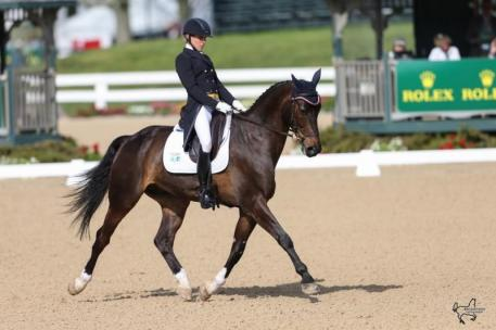 Elisabeth Halliday-Sharp rode Fernhill By Night to second place in the first day's dressage at the Rolex Kentucky Three-Day Event, presented by Land Rover