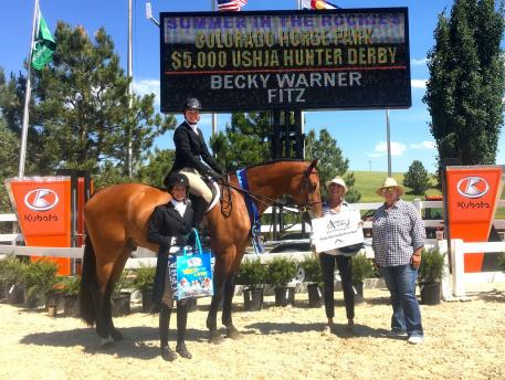 Fitz, leased by Emma Tellor and ridden by Becky Warner, wins the Omega Alpha Healthy Horse Award at the Summer in the Rockies show series at the Colorado Horse Park (Photo: Colorado Horse Park)