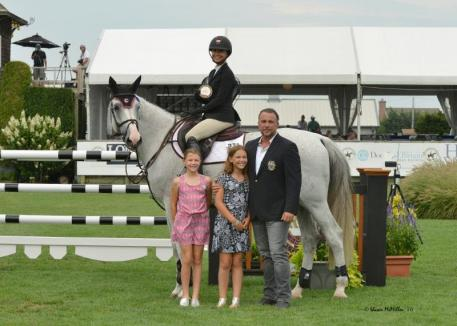Georgina Bloomberg Receives Her Award after Winning xthe Royalton Farms Open Jumper Class