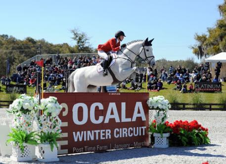 Georgina Bloomberg riding for second-place Team USA aboard Juvina at the Furusiyya FEI Nations Cup™ at HITS Ocala.