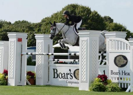 Georgina Bloomberg and Paola 233 were winners of the $30,000 Boar's Head Open Jumper (c) Shawn McMillen