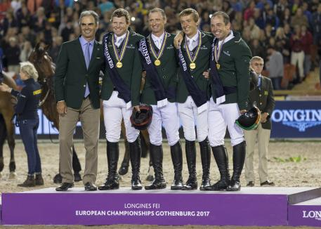 Against the odds, Team Ireland claimed Jumping gold at the Longines FEI European Championships 2017 at the Ullevi Stadium in Gothenburg, Sweden tonight. L to R - Chef d'Equipe Rodrigo Pessoa, Shane Sweetnam, Denis Lynch, Bertram Allen and Cian O'Connor