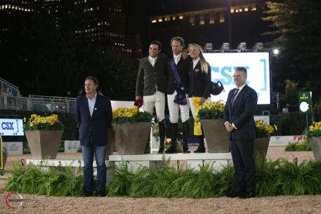 Hardin Towell in his presentation ceremony with Daniel Bluman and Kristen Vanderveen, alongside Mark Bellissimo, CEO of International Equestrian Group (IEG), and Mark Wallace, Executive Vice President of Corporate Affairs and  Chief of Staff at CSX.