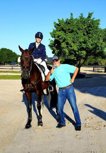 Heidi Degele on Highlife's Don Silvio posing with his owner Tom Fritchek. (Photo courtesy of Heidi Degele)