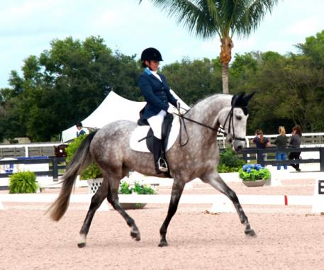 Omega Alpha Healthy Horse Award winner Horquidea MVL, ridden by Ana Daniela Campos-Siberio at the Adequan Global Dressage Festival