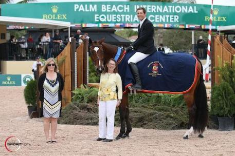 Hunter Kay and Temptation in their winning presentation  with Marla Holt of USHJA and Carol Cone.