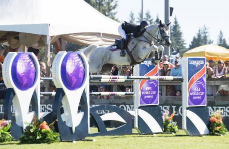 Christopher Surbey (CAN) and Daylight VDL place second in the Longines FEI World Cup™ Jumping North American League, at Thunderbird Show Park, in Langley B.C. Canada, August 27, 2017.