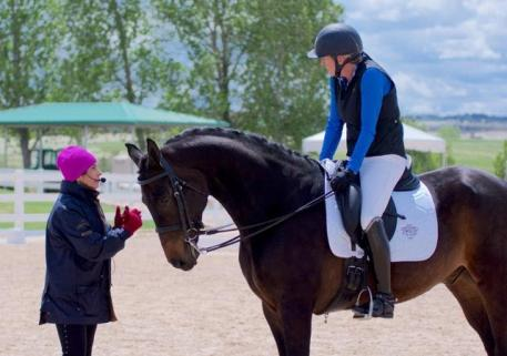 Jane Savoie instructs a clinic participant during the 2017 Dressage Symposium In The Rockies.