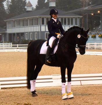 Janine Little and the stallion Sancerre, winners of the Intermediaire B CDI*3 at Dressage at Devon in 2016.