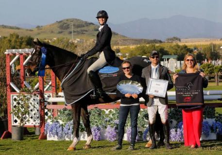 Jenny Karazissis and Felix with Lara Schleining and Garrett Warner of Silver Spring Farm and Melissa Brandes from Blenheim EquiSports