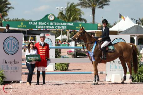 Jessica Springsteen and Tiger Lily in their winning presentation with Jasmine  Velez of Douglas Elliman at the Polo Club and ringmaster Steve Rector.