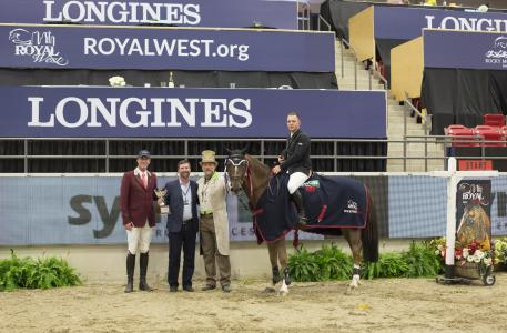 John Anderson, John Edwards and Pedro Cebulka presenting first place to Keean White and Carrera Van Het Westleven Z, in the $35,000 Synoil Royal West International Championship, PHASE 2 1.45 m at Royal West, Calgary, AB, Canada.