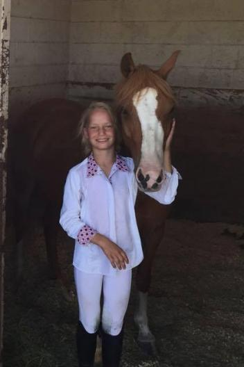 Kelsey Markee of Ramona, Calif. and her pony Make a Wish were delighted with their experience at the CDS Junior Young Rider Championships – Southern Region. Photo courtesy of Tifany Markee.