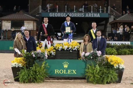 Kent Farrington, Eugenio Garza, and Richie Moloney in their presentation ceremony alongside Mark and Katherine Bellissimo of Tryon Equestrian Partners, Robin Parsky, and Kyle Younghans, Sports Marketing Manager, Rolex Watch USA.