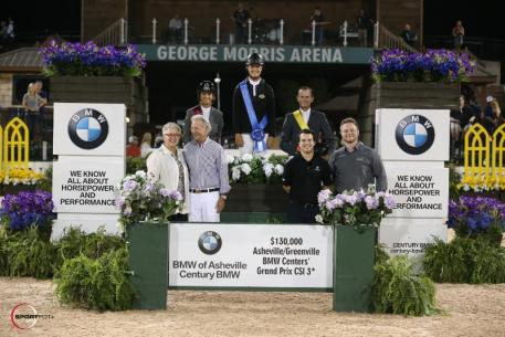 Kristen Vanderveen in her presentation ceremony with Deborah Stephens, Eric Navet, Sharon Decker; COO of Tryon Resort & TIEC, Roger Smith of the Tryon Equestrian Partners, Nick Gubitosa; BMW Genius - Century BMW, and  Arron Jones; BMW Genius - BMW of Asheville.