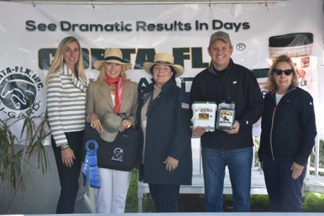 left to right: Krystalanne Shingler of ShowChic, Jog Turnout Award winner Ann Sterling Hart, turnout award judge Betsy Juliano, Charlie O'Hara of Corta-Flx®, and Michele Hundt of ShowChic