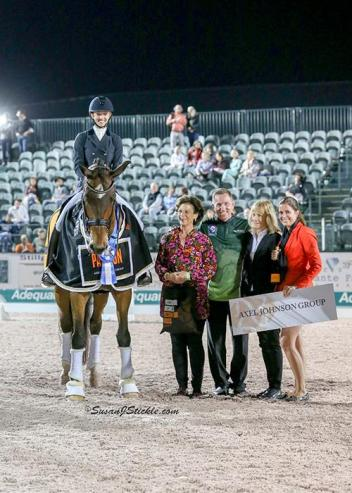 Laura Graves and Verdades in their winning presentation with Antonia Ax:son Johnson of The Axel Johnson Group, Allyn Mann of Adequan®, judge Isabel Wessels, and Cora Causemann of AGDF.