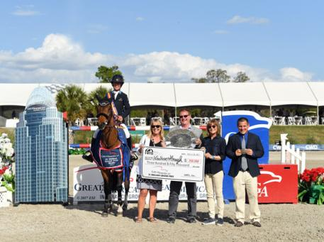 Lauren Hough and Ohlala winning the Great American  Million Grand Prix.