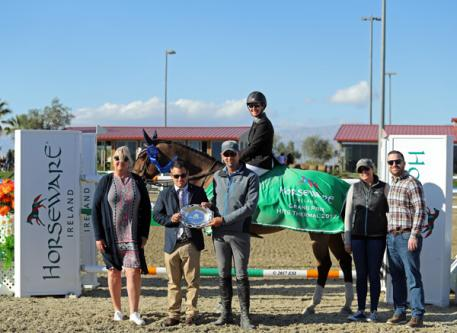 Mandy Porter and Milano winning the $75,000 Horseware Ireland Grand Prix.