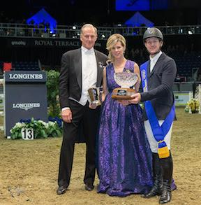 Mclain Ward of the United States was awarded the Leading International Rider Award by Royal Horse Show Chairman Peter Cullen, accompanied by Claire Salisbury, following four victories over five days of tough competition at the 2015 Royal Horse Show®.