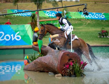 Michael Jung GER and Sam FBW competing in the Cross country phase at the Rio 2016 Olympic games. Pic Arnd Bronkhorst