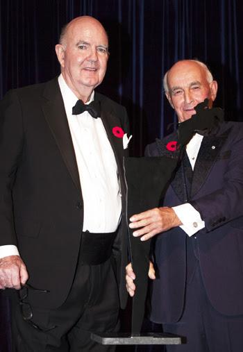 Moffat Dunlap (left) was the recipient of the Hall of Fame Award in the category of Builder (Individual), presented by his long-time friend and Canadian Equestrian Teammate, James Elder.