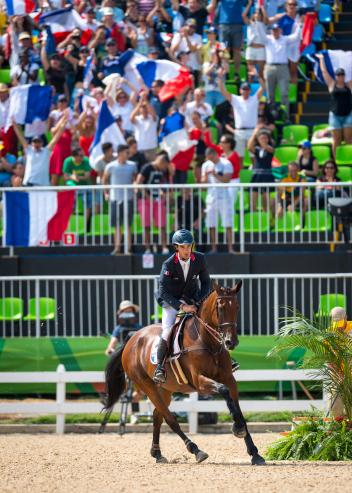 A crucial clear showjumping round from Astier Nicolas and Piaf de B'Neville clinched team gold for France in the Eventing Team Final at Deodoro today, the first gold medal of the Rio 2016 Games for France and only the second medal overall. (Arnd Bronkhorst/FEI)