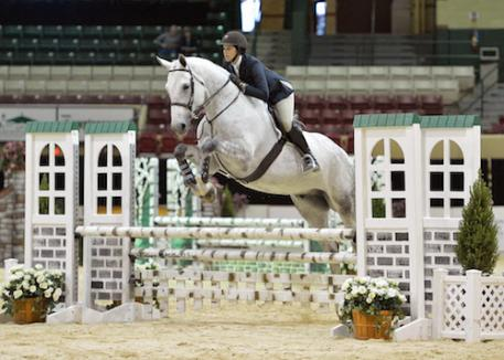 Nikki Diamantis and Falcor on their way to winning the  Adult Amateur Equitation 18-29 division.