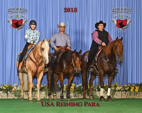 Para Reiners: Holly Jacobson, Fred Win and Mindy Davis competed at the recent 2018 Buckeye Reining Series Leonard Truck and Trailer Derby Show (Photo: Jeff Kirkbride Photography)