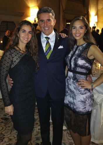 Dr. Cesar Parra (middle) with wife Marcela Ortiz (left) and daughter Nico Parra (right) at the GK Horses ceremony