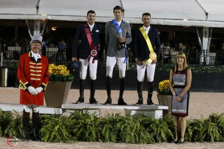 Paul O'Shea, Pedro Muylaert, and Jimmy Torano in the top three  presentation with ringmaster Steve Rector and Equestrian Sport Productions Sponsorship Manager Whitney Stahl.