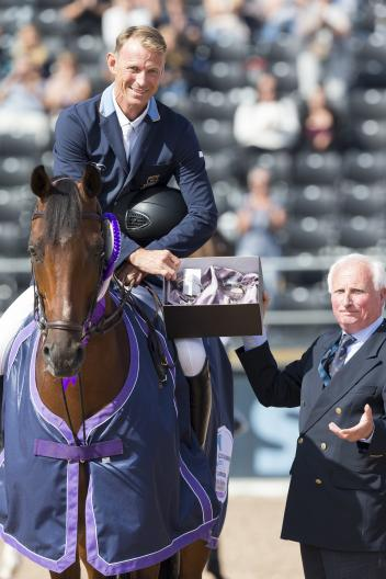 "Peder Fredricson SWE riding ""H&M All In"" and Louis Konickx, Course Designer."
