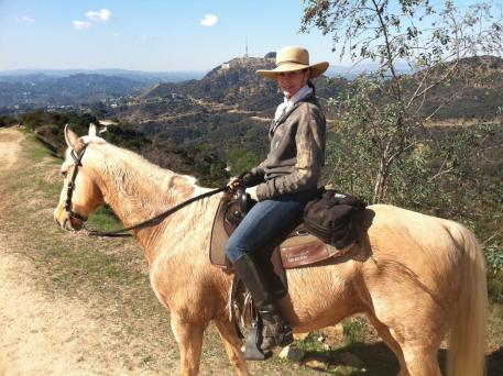 Peggy riding Buddy in Griffith Park, 2011.