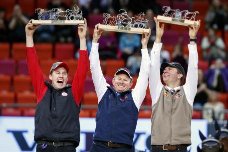 The winners in the prize giving ceremony FEI World CupTM Final Driving, Jérome Voutaz (SUI), Boyd Exell (AUS) and Koos de Ronde (NED)