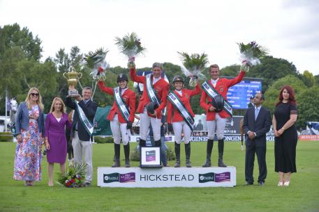 Team Germany won the eighth and last leg of the Furusiyya FEI Nations Cup™ Jumping 2016 Europe Division 1 League at Hickstead (GBR) today. (L to R) Daisy Bunn, Director of Hickstead Clare Salmon, Chief Executive British Equestrian Federation, German Chef d'Equipe Otto Becker, team members Janne Friederike Meyer, Ludger Beerbaum, Meredith Michaels-Beerbaum and Patrick Stuhlmeyer, Fawaz Al Shubaili, First Secretary Saudi Arabian Embassy and Roxanne Tierney, PR Manager Longines UK/Ireland. (FEI/Sebastian Oakle