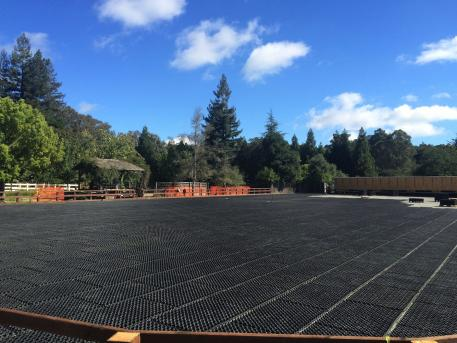 Akiko Yamazaki's new Premier Equestrian and OTTO Sport arena system being outfitted at her Four Winds Farm facility