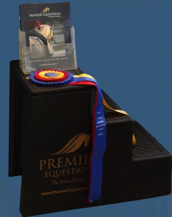Becky Brok received the Premier Equestrian Sportsmanship award, along with the 3-step mounting block and tricolor ribbon at the 2015 International Andalusian and Lusitano Horse Association National Championships