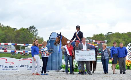 Great American Insurance representatives, including President of the Equine Division Ken Standlee, present Robero Teran and Woklahoma with a check for $350,000 after winning the 2016 Great American  Million Grand Prix at HITS Ocala.