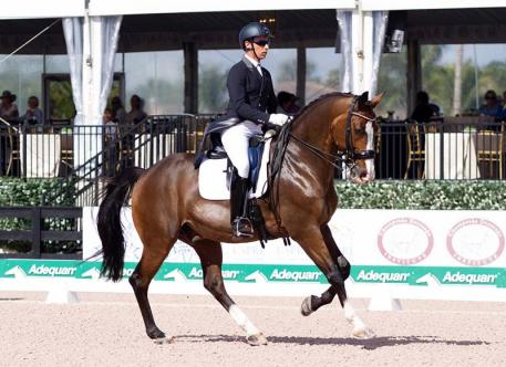 Custom Saddlery's Most Valuable Rider Award Winner Sahar Daniel HIrosh riding Whitman at the 2018 Adequan Global Dressage Festival