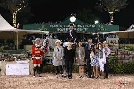 Left to right: Ringmaster Steve Rector, Scott Stewart and Catch Me,  USHJA President Mary Babick, Susan Isaacs of Tailored Sportsman, Chair of the WCHR Committee Caroline Weeden, USHJA Executive Director Kevin Price, and Mimi, Becky, and David Gochman.