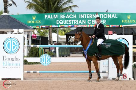 Shane Sweetnam in his winning presentation with a stand-in mount. - See more at: http://pbiec.coth.com/article/shane-sweetnam-and-cyklon-1083-dash-to-victory-in-35000-douglas-elliman-1-45m-classic-to-start-wef-9#sthash.hwwmUshc.dpuf