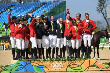 USA, France, Germany Silver, Gold and Bronze Showjumping Olympic Podium picture