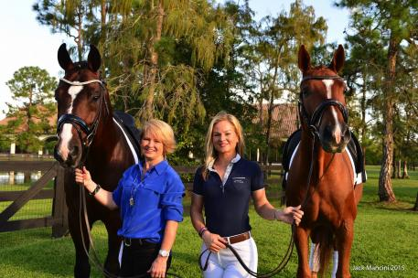 Diamante Farms is excited to introduce Sir Galanto and Winchester to the 2016 Adequan Global Dressage Festival. From left to right: Sir Galanto, Terri Kane, Devon Kane, and Winchester