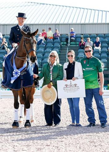 Steffen Peters and Rosamunde in their presentation ceremony with judge Linda Zang (USA), Cora Causemann of AGDF, and Allyn Mann of Adequan®.