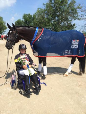 TheraPlate Brand Ambassador Sydney Collier and Wentworth win the Para-Dressage Individual Gold medal at the North American Junior Young Rider Championships (NAJYRC) (Photo courtesy of Sydney Collier)