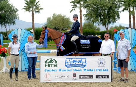 Sydney McManus winning the NCEA Junior Hunt Medal Finals - West Coast. Pictured with horse, Serendipity, owned by Mackenzie Cowles.